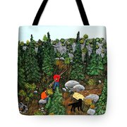Woodcutters And Black Lab Tote Bag