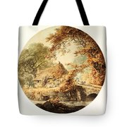 Wooded Landscape With A Cottage Beside A Bridge Tote Bag
