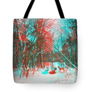 Wooded Path - Use Red And Cyan Filtered 3d Glasses Tote Bag