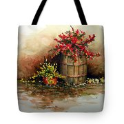 Wooden Barrel With Flowers Tote Bag