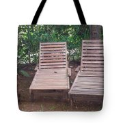 Wooden Beach Chairs Tote Bag