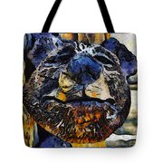 Wooden Bear Sculpture Tote Bag by Barbara Snyder