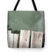 Wooden Board Against Sea Surface Tote Bag