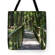 Wooden Boardwalk Through The Forest Tote Bag