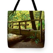 Wooden Bridge In The Hoh Rainforest Tote Bag
