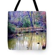 Wooden Bridge Over Pond Tote Bag