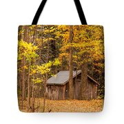Wooden Cabin In Autumn Tote Bag