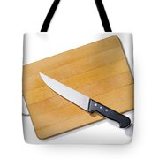 Wooden Cutting Board With Kitchen Knife Tote Bag