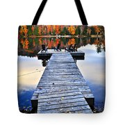 Wooden Dock On Autumn Lake Tote Bag
