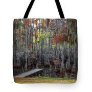 Wooden Dock On Autumn Swamp Tote Bag