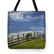 Wooden Farm Fence On Crest Of A Hill Tote Bag