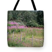 Wooden Fence And Pink Fireweed In Norway Tote Bag