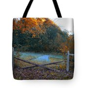Wooden Fence In Autumn Tote Bag