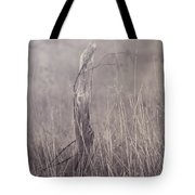 Wooden Fence Post On A Foggy Winter Day Tote Bag