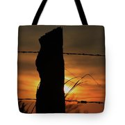 Wooden Fence Post Sunset Tote Bag
