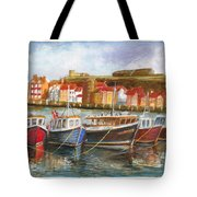 Wooden Fishing Boats In The Whitby Fleet Of Northern England Tote Bag
