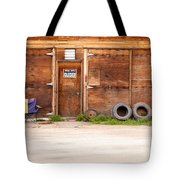 Wooden Gate Of Rural Timber Building Closed Sign Tote Bag