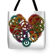 Wooden Gears Forming Heart Shape Illustration Tote Bag