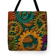 Wooden Gears On Wood Grain Texture Background Tote Bag