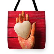Wooden Hand With White Heart Tote Bag