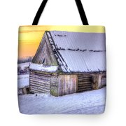 Wooden Hut In Sunset Tote Bag