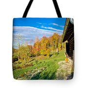 Wooden Lodge In Autumn Mountain Nature Tote Bag