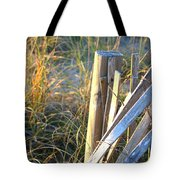 Wooden Post And Fence At The Beach Tote Bag
