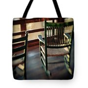 Wooden Rocking Chairs On A Deck Tote Bag