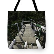 Wooden Steps Coming Down From A Watchtower Tote Bag