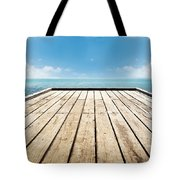 Wooden Surface Sky Background Tote Bag