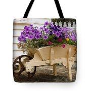 Wooden Wheelbarrow Full Of Flowers Tote Bag