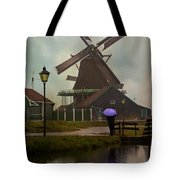 Wooden Windmill In Holland Tote Bag