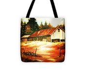 Woodland Barn In Autumn Tote Bag
