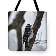 Woodpecker In Winter Tote Bag
