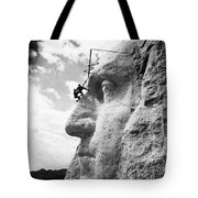 Working On Mt. Rushmore Tote Bag by Underwood Archives