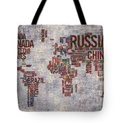 World Map Typography Artwork Tote Bag
