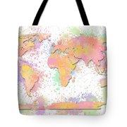 World Map 2 Digital Watercolor Painting Tote Bag