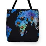 World Map And Sagittarius Constellation Tote Bag