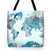 World Map Blue Collage Tote Bag