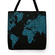 World Map Blue Vintage Fabric On Dark Leather Tote Bag