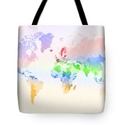 World Map Crumpled Multi-coloured Tote Bag