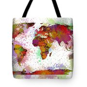 World Map Digital Watercolor Painting Tote Bag