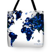 World Map In Blue Lights Tote Bag