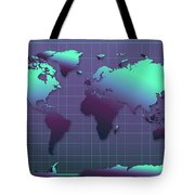 World Map In Dark Green Tote Bag