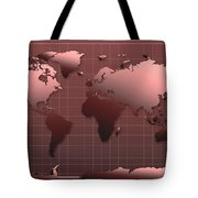 World Map In Dark Red Tote Bag