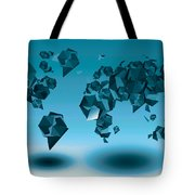 World Map In Geometic Blue  Tote Bag