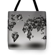 World Map In Geometic Gray  Tote Bag