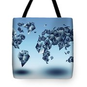 World Map In Geometic Light Blue  Tote Bag