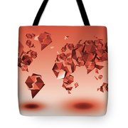 World Map In Geometic Red Tote Bag