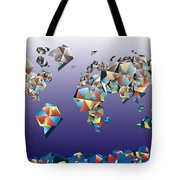 World Map In Geometric Fractal 2 Tote Bag